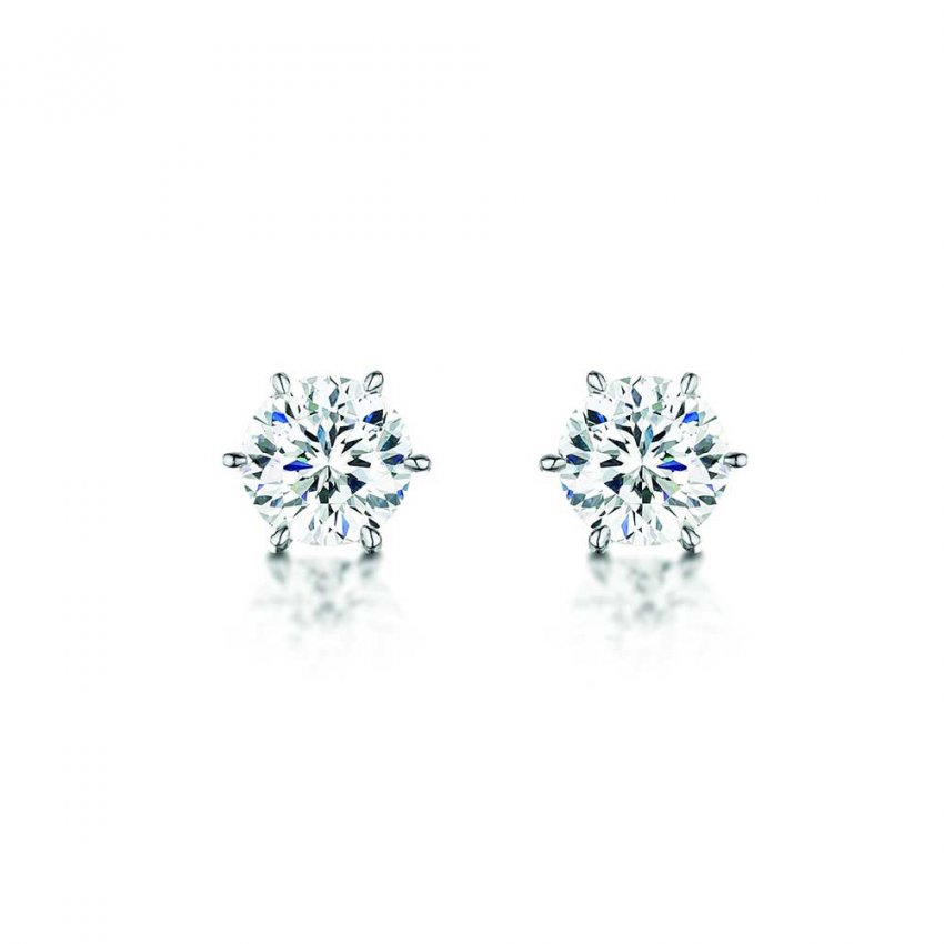 Bouton Silver 8mm Round Cubic Zirconia Studs BE090