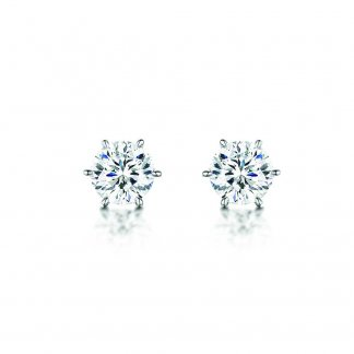 Silver 8mm Round Cubic Zirconia Studs BE090