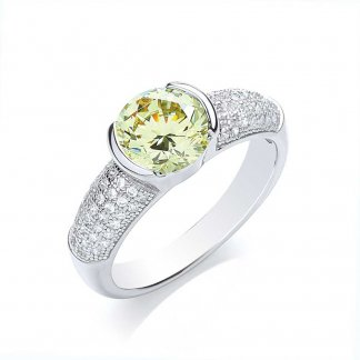 Silver Chunky Yellow Pave Ring BR071