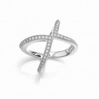 Silver Modern Wishbone Ring BR097