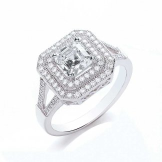 Square Cut Sparkling Princess Ring