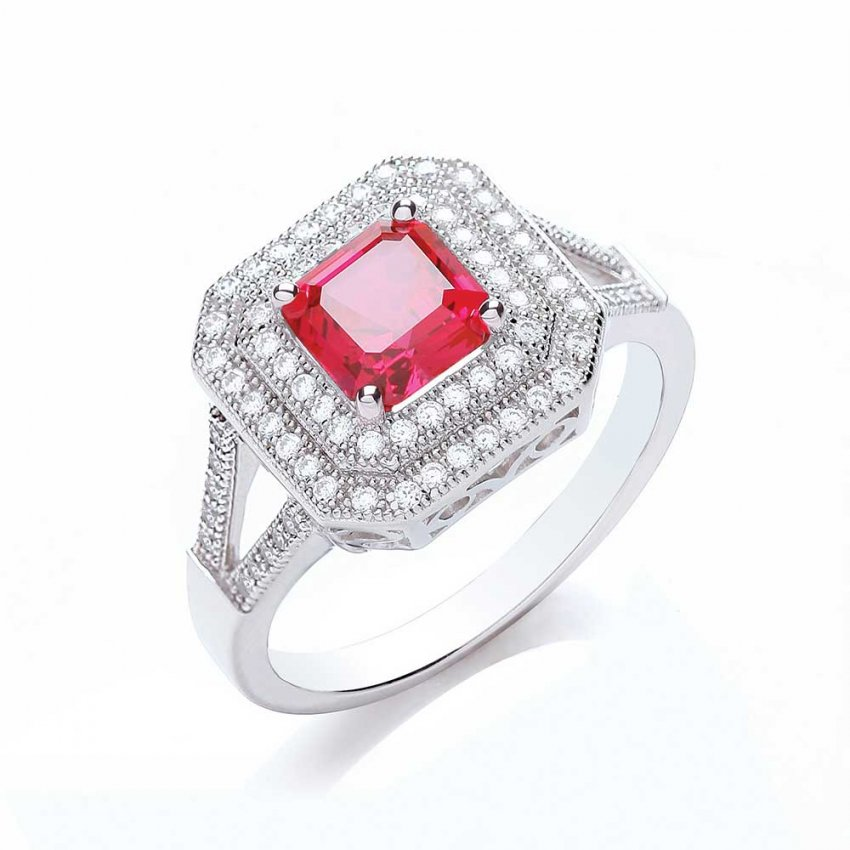 Bouton Square Surround Princess Cut Ring BR008