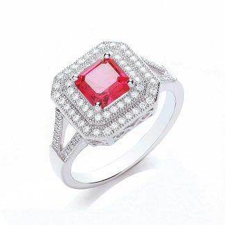 Square Surround Princess Cut Ring