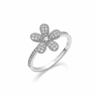 Sterling Silver and Micro Pave Daisy Ring BR089N