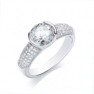 Sterling Silver Chunky Pave Ring BR070