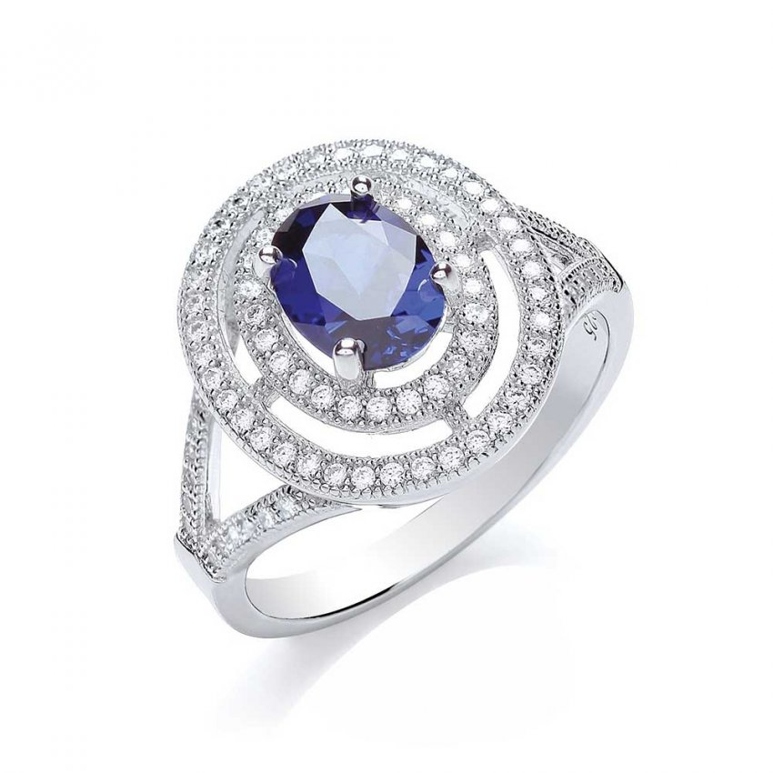 Bouton Sterling Silver Sapphire CZ Ring BR006