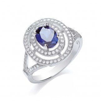 Sterling Silver Sapphire CZ Ring BR006