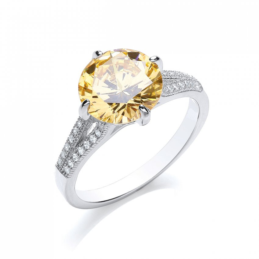 Bouton Brilliant Cut Canary Yellow Bling Ring BR002