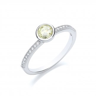 Brilliant Cut Canary Yellow Stacker Ring BR014