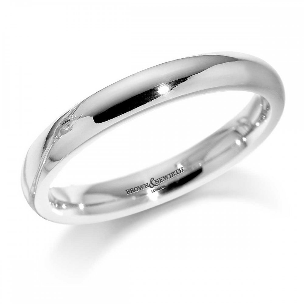This is a picture of Brown & Newirth Ladies 47mm Heavier Court 47ct White Gold Wedding Ring