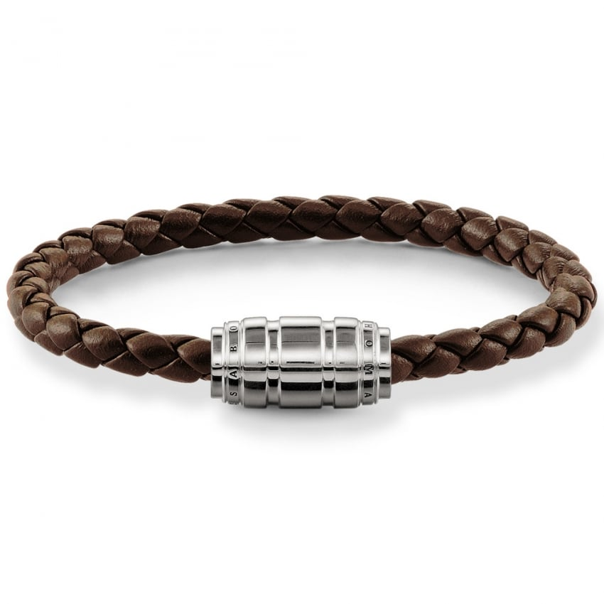 Thomas Sabo Brown Plaited Leather Silver Chunky Clasp Bracelet UB0019-823-2