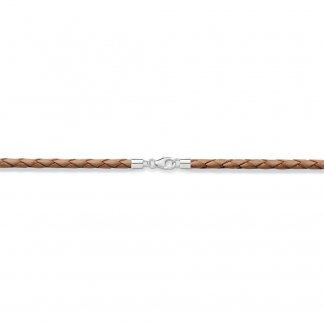 Brown Plaited Leather Charm Cord X0134-134-16