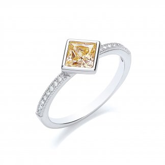 Canary Yellow Tilted Princess Cut Ring