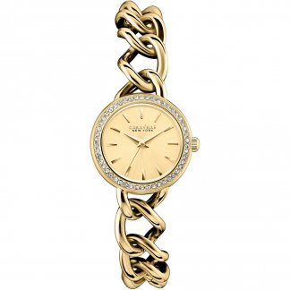 Ladies Glitzy Gold Chain-Style Bracelet Watch 44L152