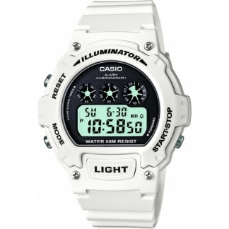 Classic White Illuminator Digital Alarm Watch W-214HC-7AVEF