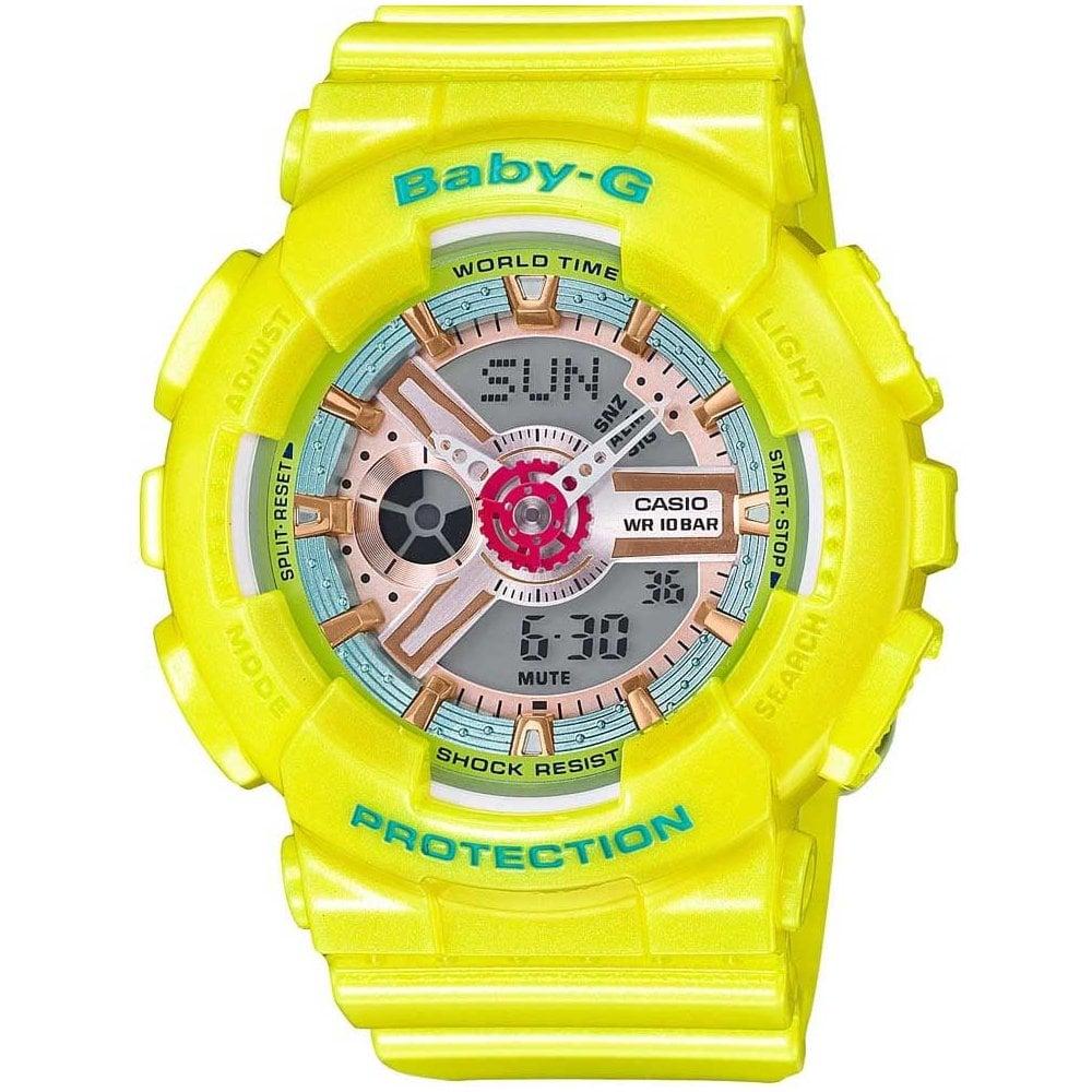 Casio G Shock Ladies Yellow Baby G Alarm Chronograph Watch