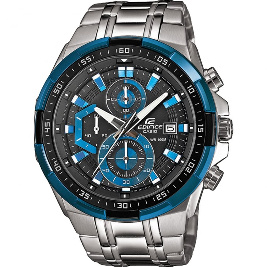 Casio Gent's Steel Chronograph Watch With Blue Detail EFR-539D-1A2VVEF