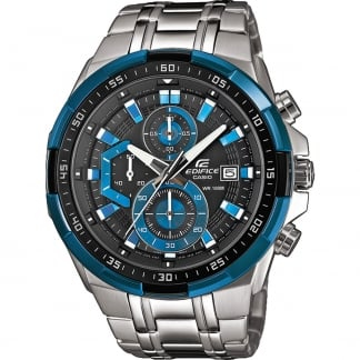 Gent's Edifice Steel Chronograph Watch With Blue Detail EFR-539D-1A2VVEF