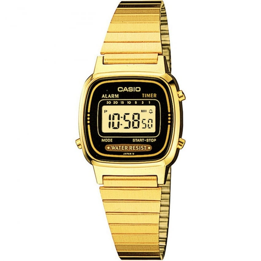 Ladies Gold Retro Digital Chronograph Watch LA-670WEGA-1EF