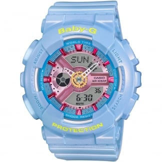 Ladies Powder Blue Baby-G Alarm Chronograph Watch BA-110CA-2AER