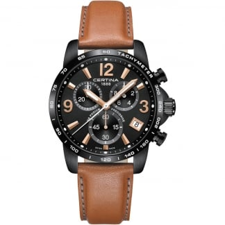 Men's DS Podium Chronograph 1-10 Sec Tan Leather Watch