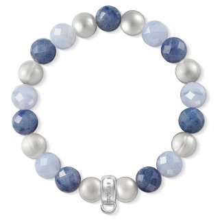 Charcedony & Dumortierite Charm Bracelet X0210-772-7