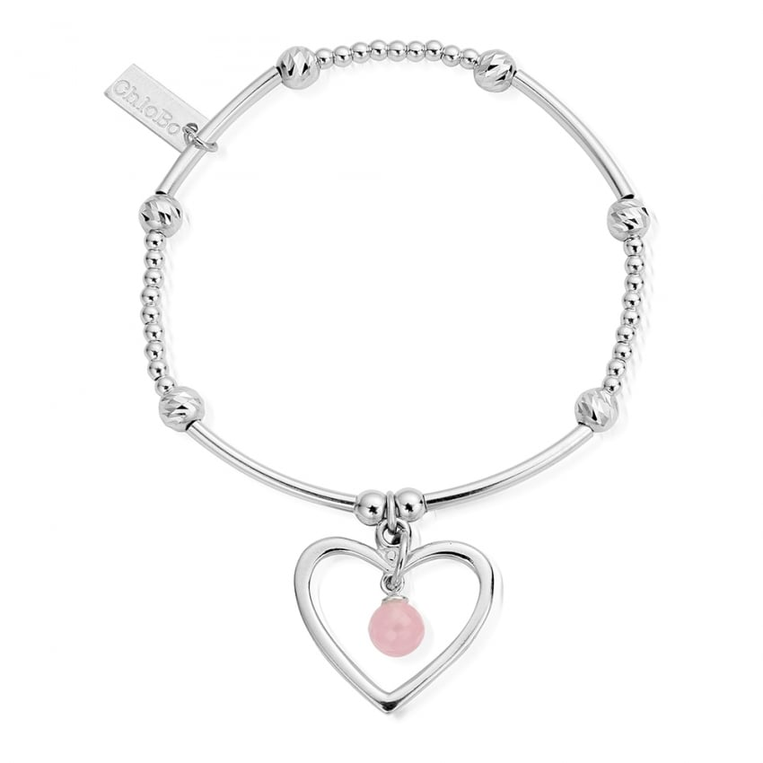ChloBo Cute Mini Sparkle Open Heart Bracelet With Rose Quartz SBCMSR0281009