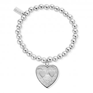Engraved Heart Iconic Silver Ball Bracelet SBB13