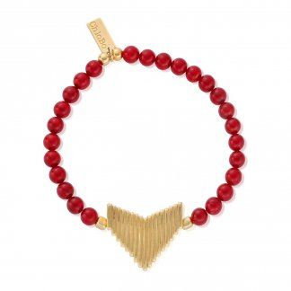 Gold Plated Large Arrow Red Coral Charm Bracelet GBRED906