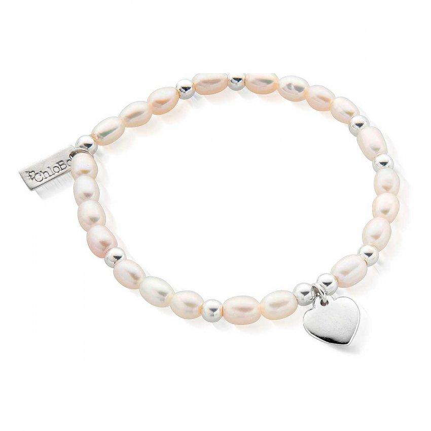 ChloBo Iconic Mini Puffed Heart Pearl Bracelet SBPED024