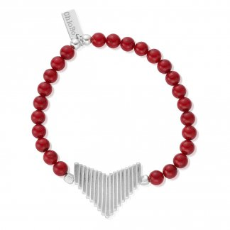 Large Arrow Red Bamboo Coral Bracelet SBRED905