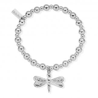 Large Dragonfly Iconic Small Ball Silver Bracelet