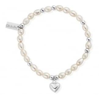 Mini Pearl Puffed Heart Bracelet SBPMIN023