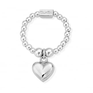 Silver Mini Puffed Heart Stretch Ring SRM2023