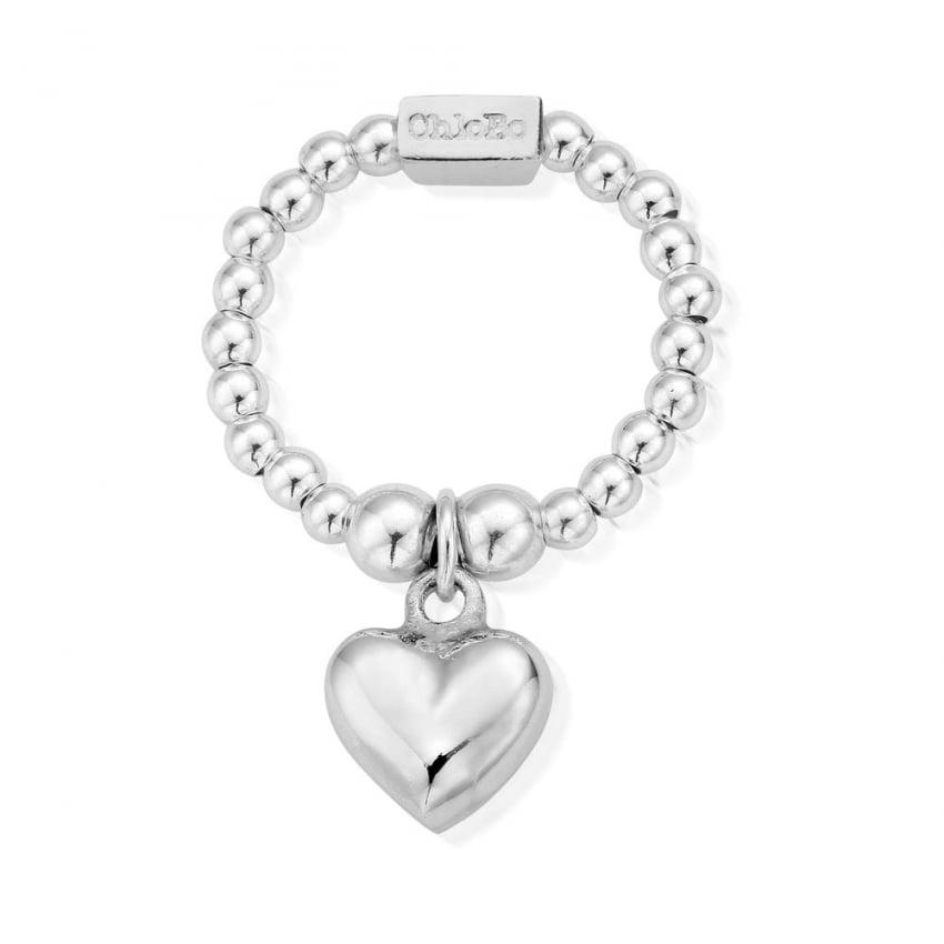 ChloBo Silver Mini Puffed Heart Stretch Ring SRM2023