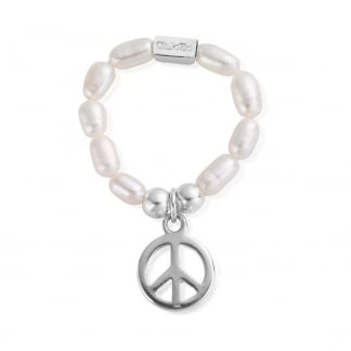 Small Pearl Peace Stretch Ring