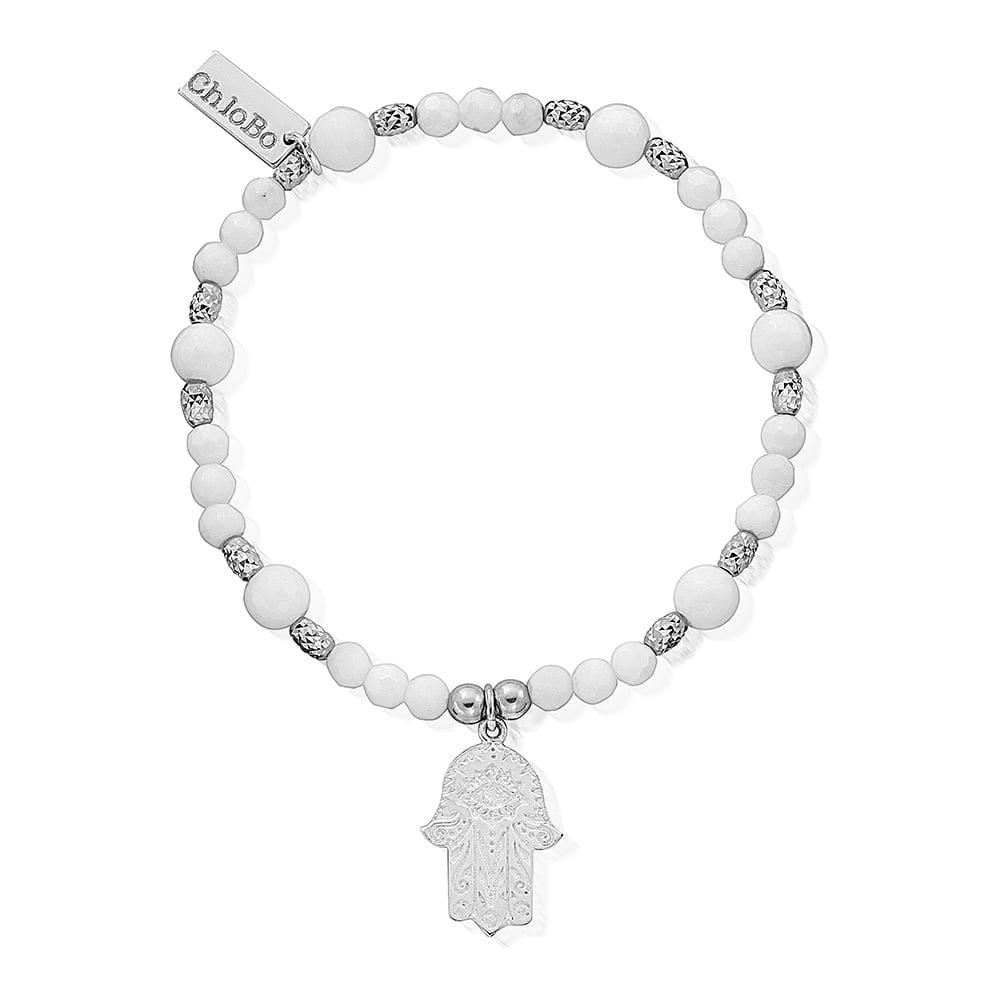 ChloBo White Agate Sparkle Fancy Hamsa Hand Bracelet