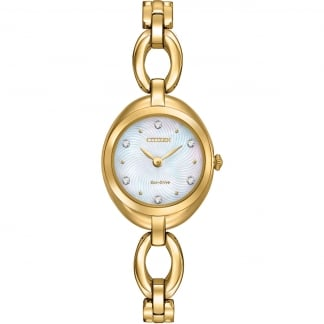 Gold Plated Ladies Silhouette Crystal Watch EX1432-51D