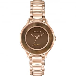 Ladies Circle Of Time Brown MOP Rose Gold Eco-Drive Watch EM0382-86X