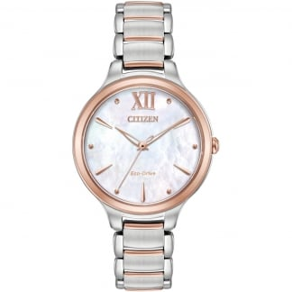 Ladies Circle of Time Steel & Rose Eco-Drive Watch