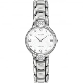 Ladies Diamond Set Silver Tone Eco-Drive Watch EX1460-55A