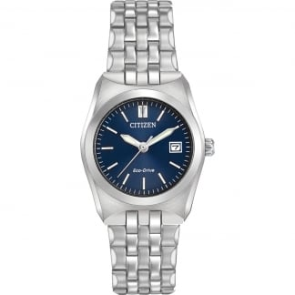 Ladies Eco-Drive WR100 Blue Dial Silver Tone Watch