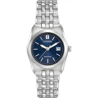 Ladies Eco-Drive WR100 Blue Dial Silver Tone Watch EW2290-54L