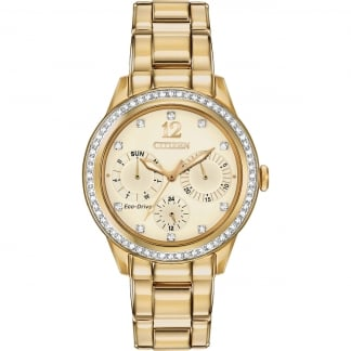 Ladies Gold Silhouette Crystal Set Multifunction Watch FD2012-52P