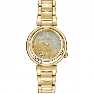 Ladies Floating Diamond Gold Tone Sunrise Watch EM0322-53Y