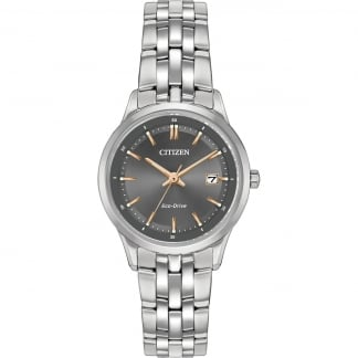 Ladies Grey Dial Eco-Drive Watch With Rose Gold Detail EW2400-58H