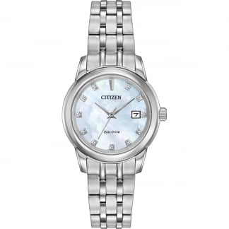 Ladies Mother of Pearl Diamond Set Eco-Drive Watch