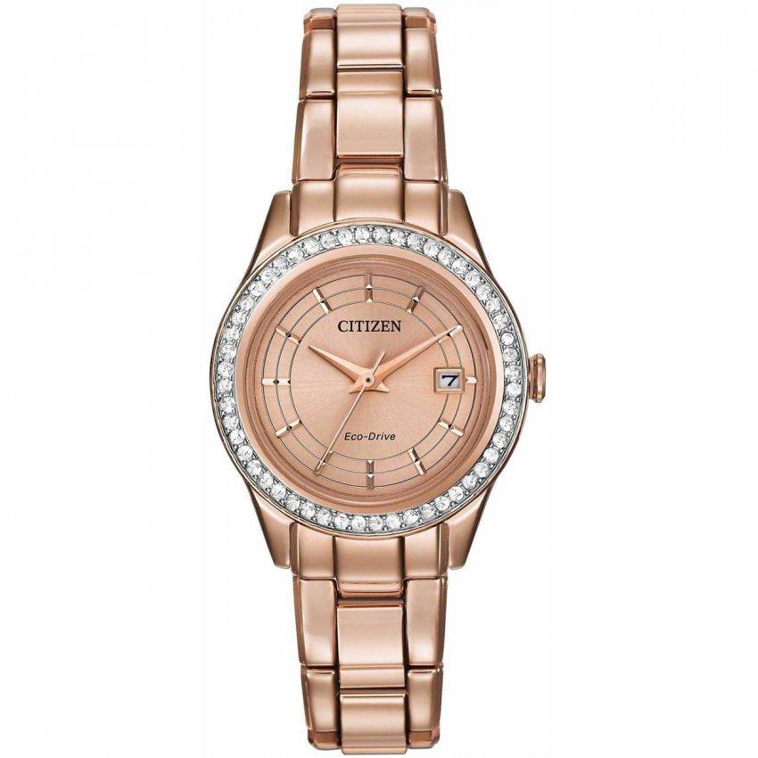 Citizen Ladies Rose Gold Silhouette Swarovski Crystal Set Watch FE1123-51Q