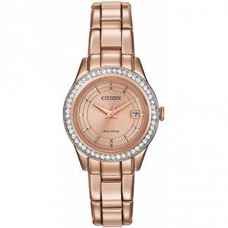 Ladies Rose Gold Silhouette Swarovski Crystal Set Watch FE1123-51Q