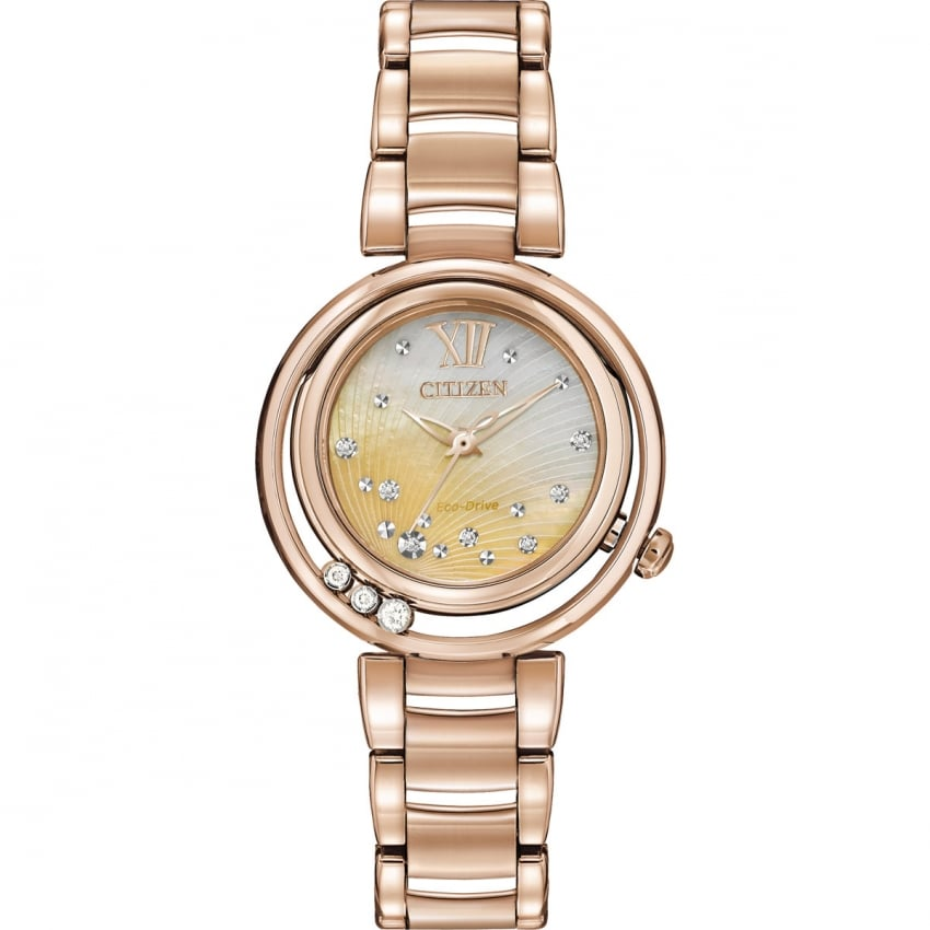 Citizen Ladies Sunrise Floating Diamond Rose Gold Eco-Drive Watch EM0323-51N